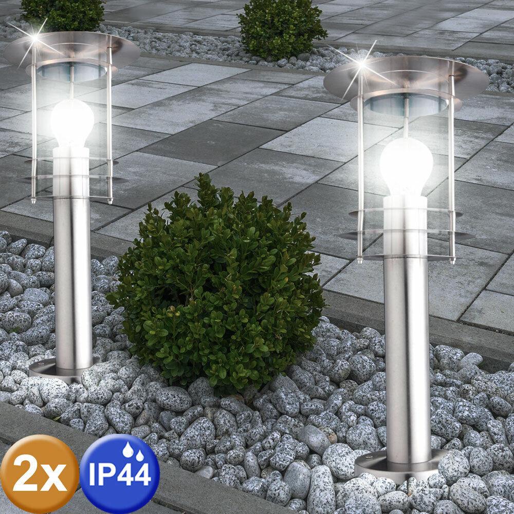 2er Set Außen Pollerleuchten Edelstahl Steh Stand Lampen Garten Wege Beleuchtung