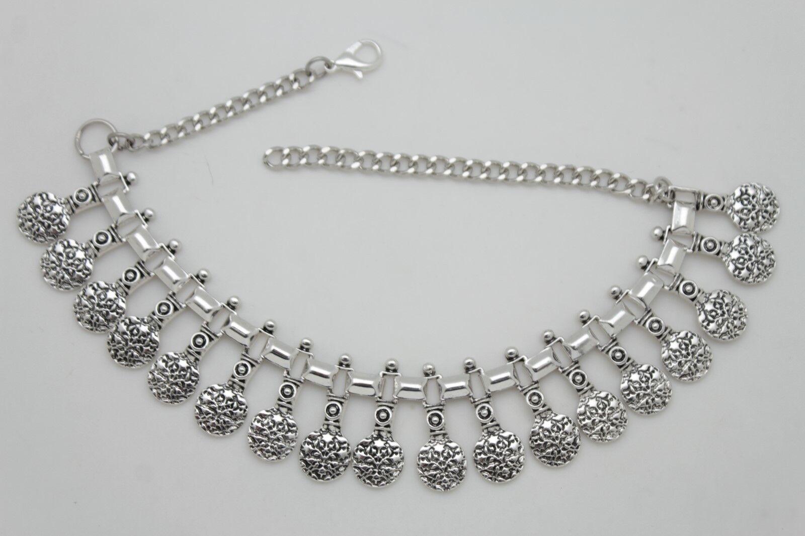 Hot Women Fashion Boot Chain Bracelet Silver Metal Multi Coins Shoe Ethnic Charm
