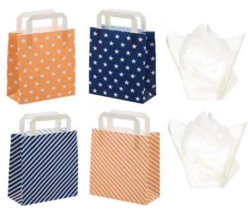 Blue /& Peach Party Favor Tienda Boutique Bolsas de Regalo-estrellas o rayas tejido Plus