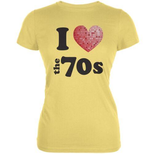 I Heart The 70s Yellow Juniors Soft T-Shirt