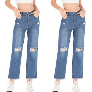 Womens-Wide-Leg-Jeans-Pants-Denim-Jeans-High-Waist-Casual-Ripped-Frayed-Trousers