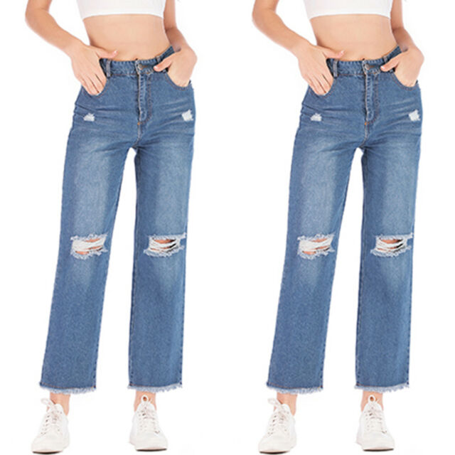 Womens Wide Leg Jeans Pants Denim Jeans High Waist Casual Ripped Frayed Trousers