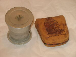 Vitnage-Souvenir-Atlantic-City-NJ-Folding-Tin-Cup-CHIEF-WHITE-EAGLE-Pouch