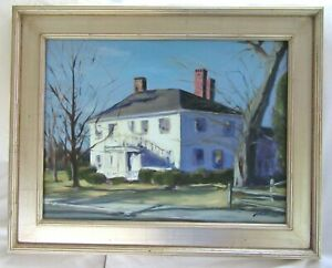 BIG-30-034-OIL-PAINTING-ANTIQUE-COUNTRY-HOUSE-PRIMITIVE-SIGNED-FRAMED-MA-COLONIAL