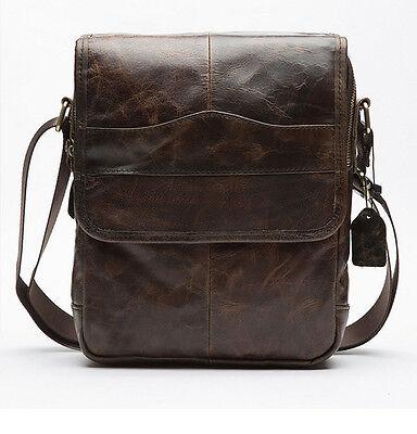 Men New Vintage Genuine Leather Business Crossbody Messenger Shoulder Bag