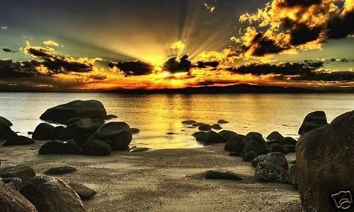 """Grande plage magnifique paysage marin scenic canvas art 34 x20 /"""""""