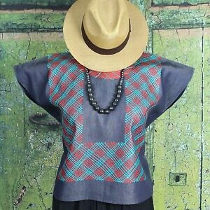 Turquoise & Red on Denim Geometric Huipil Tehuana Mexico Frida Hippie Cowgirl