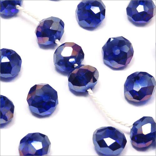 Lot de 20 Perles à Facettes Rondelles en cristal 8x6mm Bleu foncé