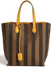 FENDI All In Pequin Striped Shopper Tote Bag Tobacco Yellow Jacquard Logo NWT