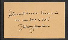 Harry Houdini Autograph Reprint On Genuine Original Period 1910s 3x5 Card *Q