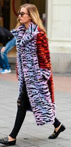 KENZO-X-h-amp-m-long-en-fourrure-synthetique-tigre-raye-Manteau-Rose-Or-Rouge-Bouton-UK-8-10-12-Bnwt