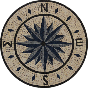free shipping handmade art design floors /& tabletops Nautical marble mosaic round compass for walls