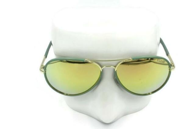 690295631e8c New Guess Aviator Green Gold Women Mirrored Sunglasses GF0261 32G 59-14 135