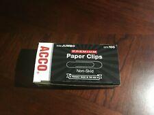 Acco Jumbo Non Skid Premium Paper Clips 1 Box Of 100 Clips 72510