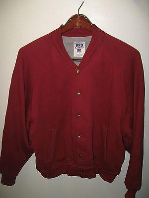 Russell Vintage 1980's Athletic Red Bomber Letterman Sweatshirt USA Jacket Large