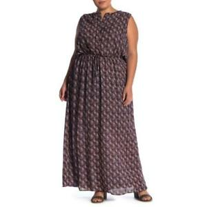 Womens Plus Size Multi Colored Sleeveless Pocketed Maxi Dress