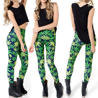 Fashion Womens Green Sexy Weed Lucky Maple Leaf Marijuana Print Leggings Pants