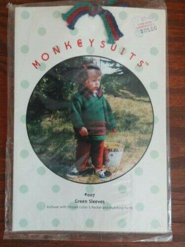MonkeySuits Knitting Pattern #007 Green Sleeves Pullover /& Pants