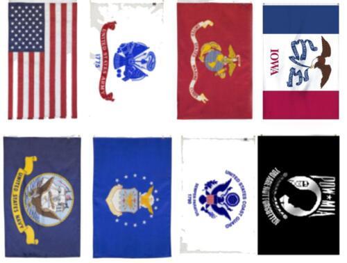 Wholesale Lot 3x5 USA Iowa Flag Set Pow Mia 5 Branches Military