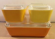 VTG PYREX Complete REFRIGERATOR DISH SET Yellow Orange DAISY 501 502 503 RARE!!!