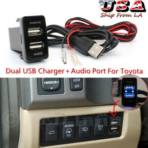 Car Dual USB Charger Audio Port Adapter for Toyota Tacoma 4Runner Tundra RAV4