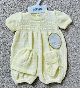 Will'beth Newborn Baby Boy Girl Unisex Yellow Knit Romper Hat Booties Dolls sz0