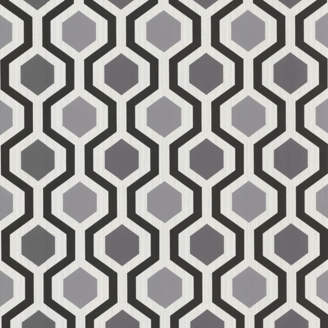 WALLPAPER BY THE YARD 347-20133 Marina Contemporary Geometric Black and White Tr