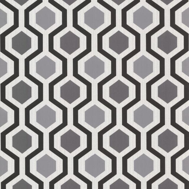 WALLPAPER BY THE YARD 347-20133 Modern Geometric Black and White Trellis Wallpap