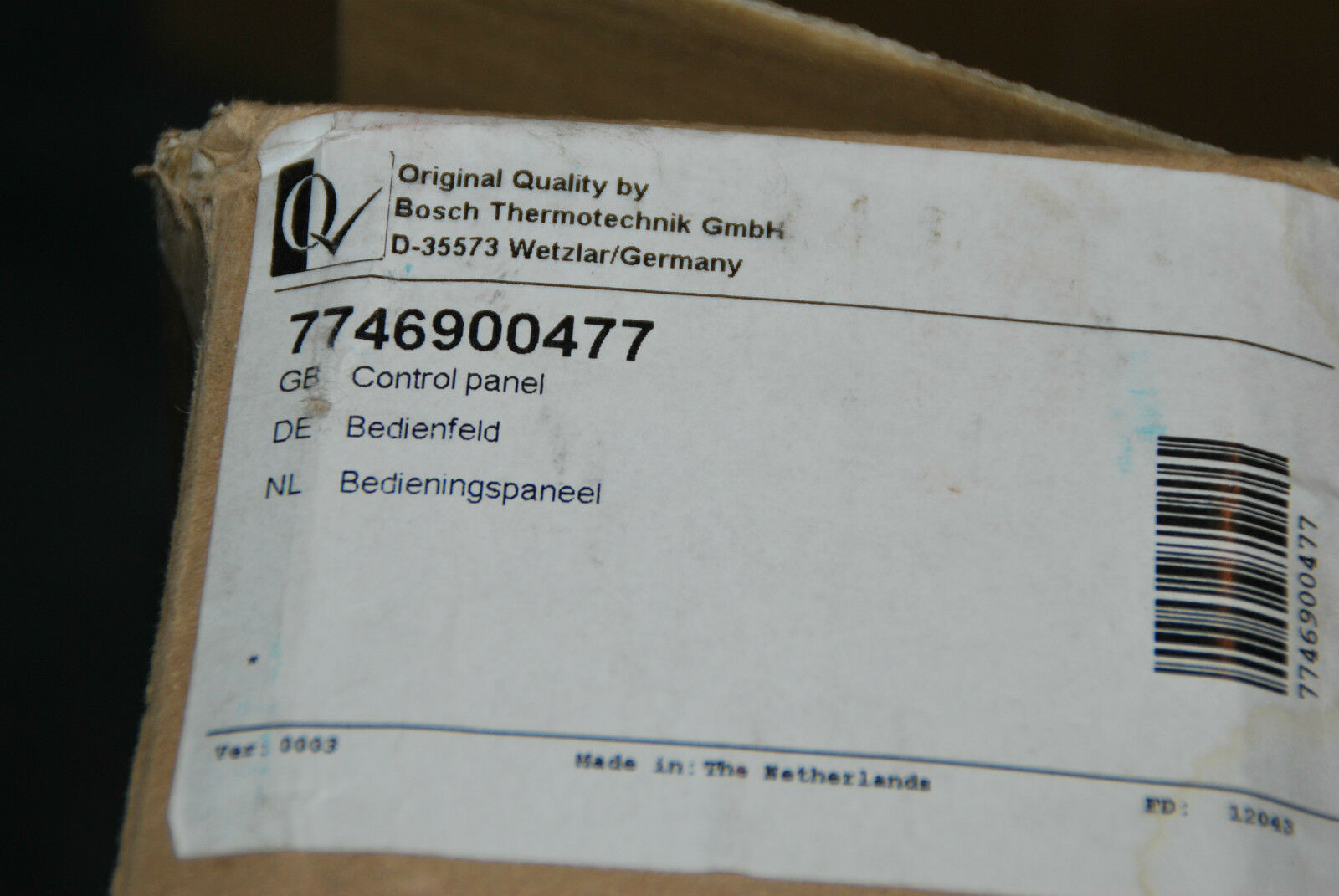 BOSCH NEFIT 7746900477 BEDIENFELD PROLINE BEDIENINGSPANEEL NEU