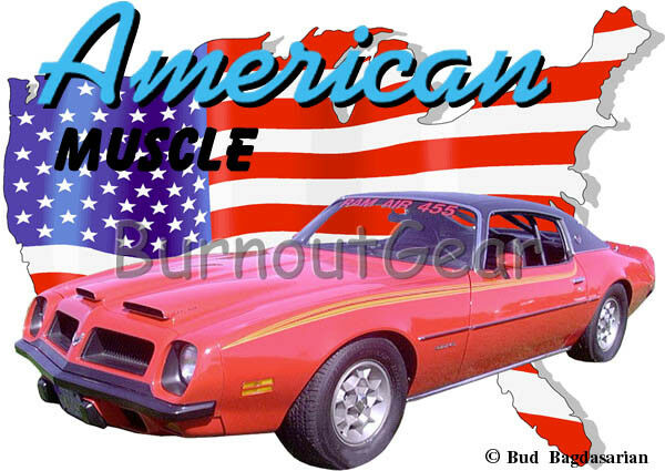 1974 rosso Pontiac FireBird Custom Hot Rod Rod Rod USA T-Shirt 74 Muscle Car Tees e53865