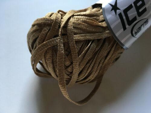 Camel Light Brown Viscose Shine Bulky #58899 Skinny Net Ribbon Yarn 50gr 60yds
