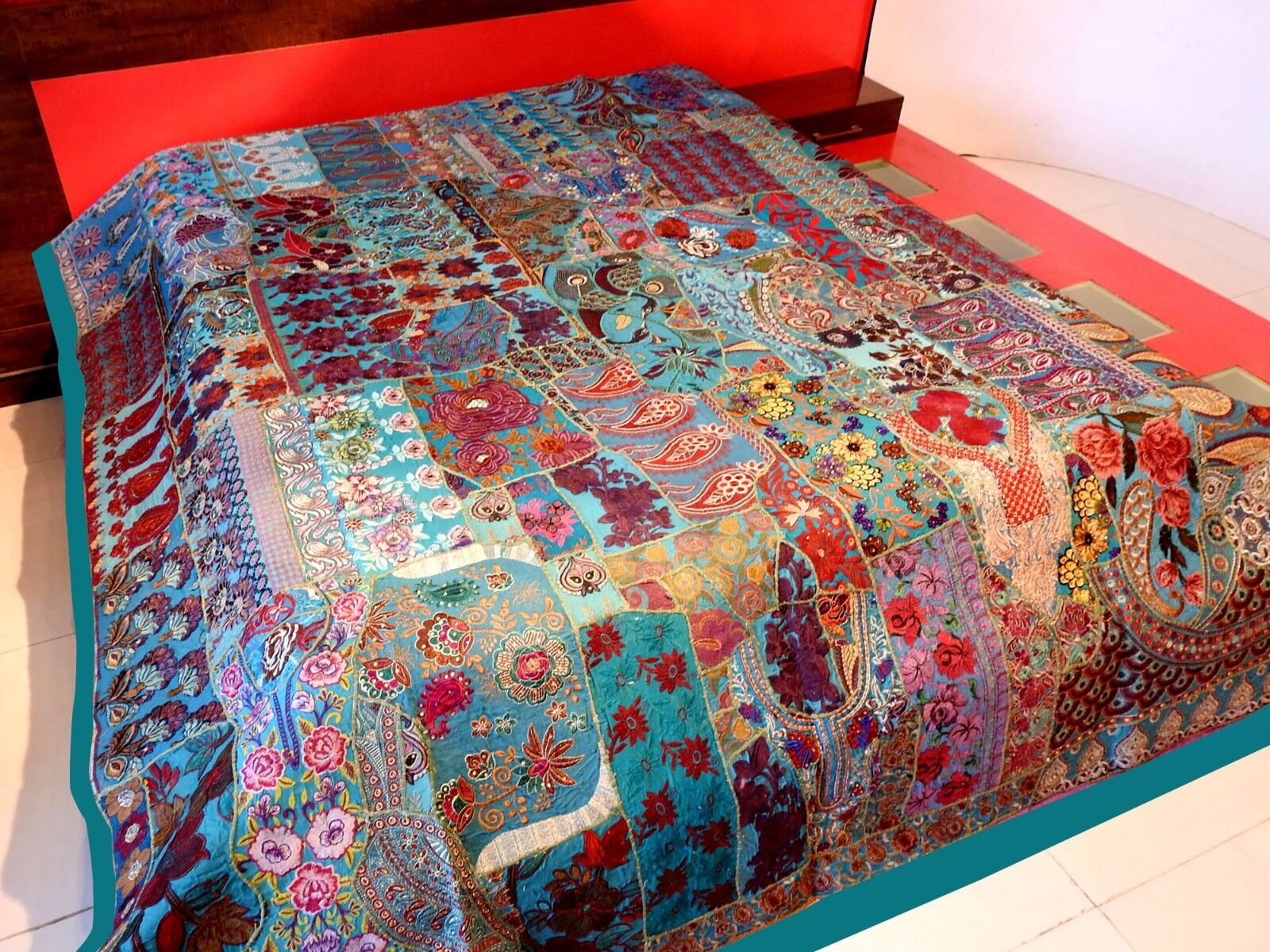 Vintage Patchwork Bedspread Hand Embroidery Bed Cover, Wall Hanging Curtain BS51
