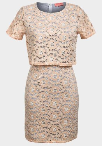*New* Pink Soda Peach Floral Lace Layered Shift Dress ~ Size 10