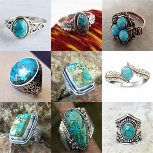 Vintage-Turquoise-Silver-Ring-Fashion-Men-Women-Ring-Band-Jewelry-Gift-Size-6-10