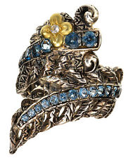 Barbara Bixby Blue Topaz Sterling/18K yellow gold Feather design ring size 5