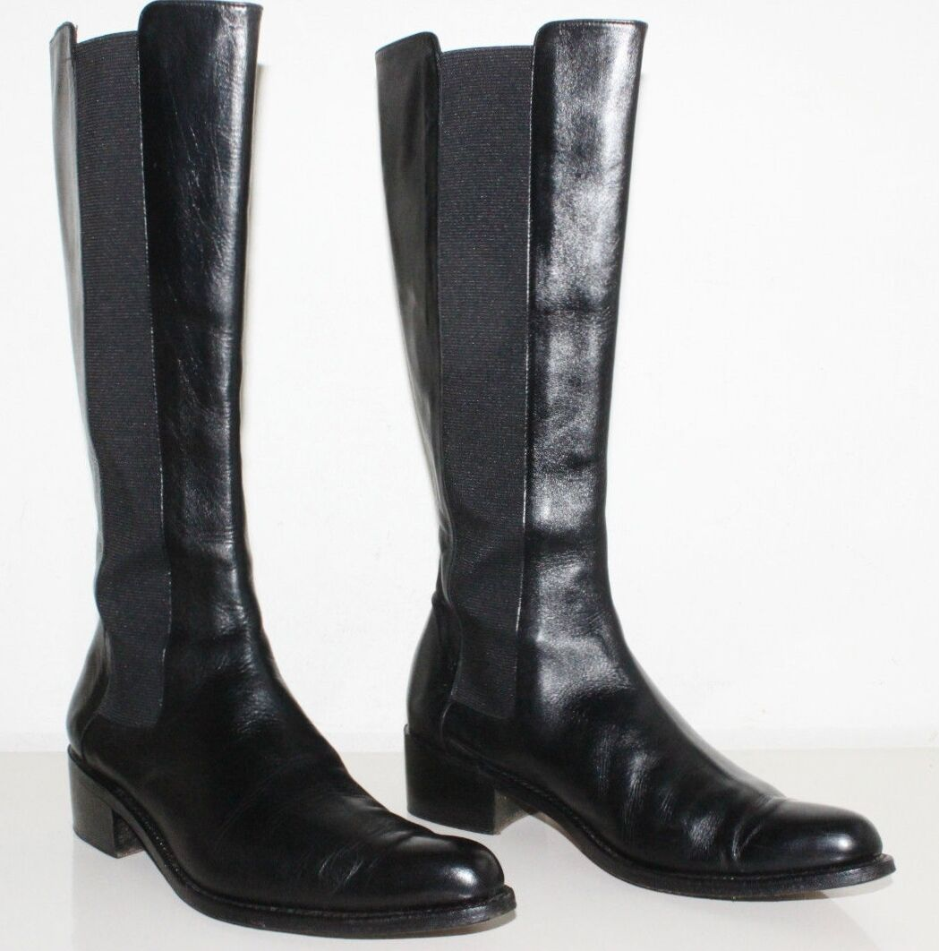 ROBERT CLERGERIE BLACK LEATHER PULL ON BOOTS SIZE 5.5 B