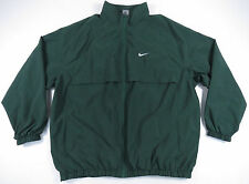 NIKE DARK GREEN & WHITE SWOOSH FULL ZIP ATHLETIC WINDBREAKER JACKET GOLF EUC 3XL