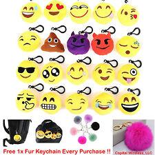"20pcs 2"" Emoji Smiley Stuffed Plush Toy KEY CHAIN Emoticon Yellow Soft Cushion"