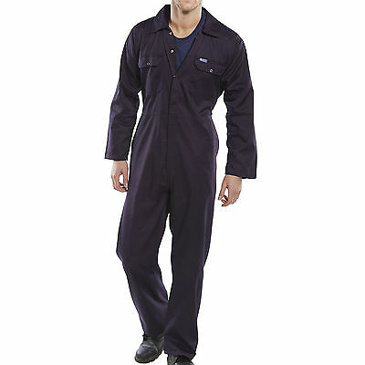 Navy Blue BOILER SUIT OVERALL COVERALL Mechanic college work SMALL- 3XL MENS New