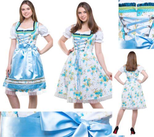 Dirndl Trachtenkleid 3 Teiliges Set Oktoberfest Wiesn Größen Gr 34-54 Kleid