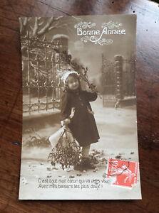 CPA-Ancienne-Carte-Postale-Bonne-Annee-fillette-gui-et-houx-porte-bonheur-Voeux