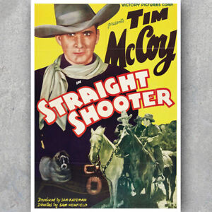 A3 A6 Vintage MOVIE POSTER STRAIGHT SHOOTER COWBOY Western Retro Art Print