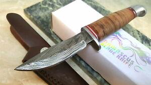 DM1166-Couteau-Skinner-Couteau-Damas-260-Couches-Manche-Cuir-Etui-Cuir