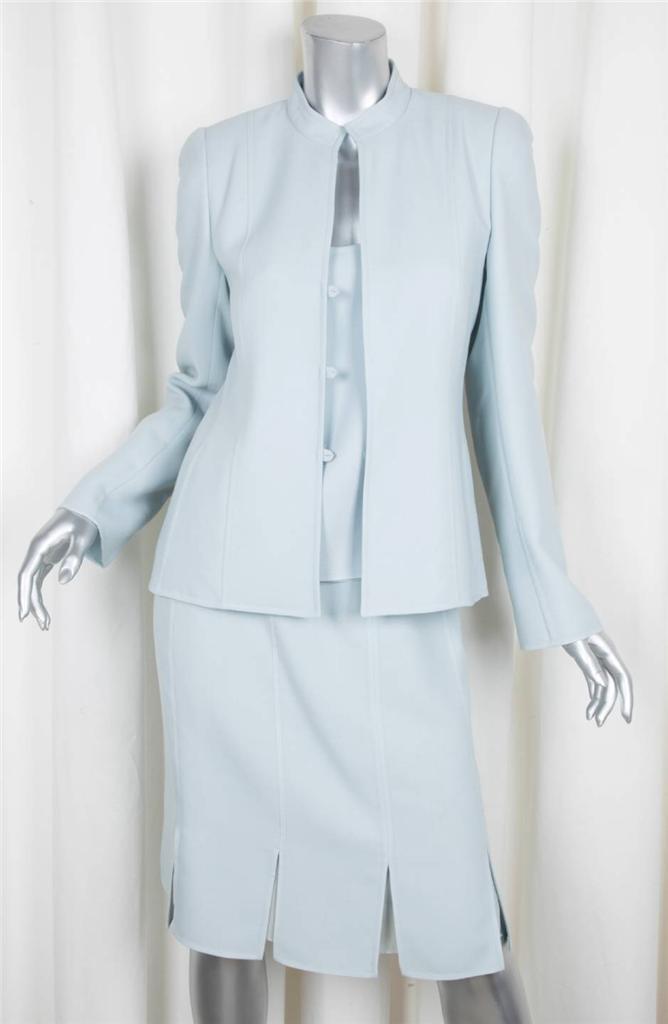 Akris Donna Azzurro Azzurro Azzurro Lana 3-Piece Giacca + Maglia + Abito con Vestito Us 6  Fr 38 c16def