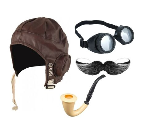 AVIATOR PILOT COSTUME SET BIGGLES HAT PIPE MOUSTACHE GOGGLES FANCY DRESS OUTFIT