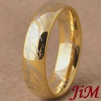 Tungsten Wedding Band Lotr Ring Lord 14k Gold Size 6-13