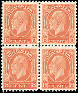 Mint-NH-Canada-1932-F-Scott-200-Block-of-4-8c-King-George-V-Medallion-Stamps