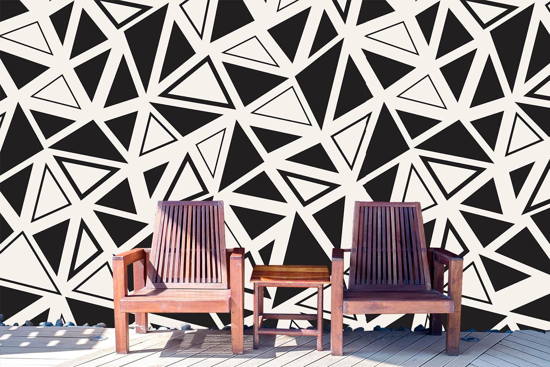 3D Triangolo black·Parete Murale Foto Carta da parati immagine sfondo muro stampa