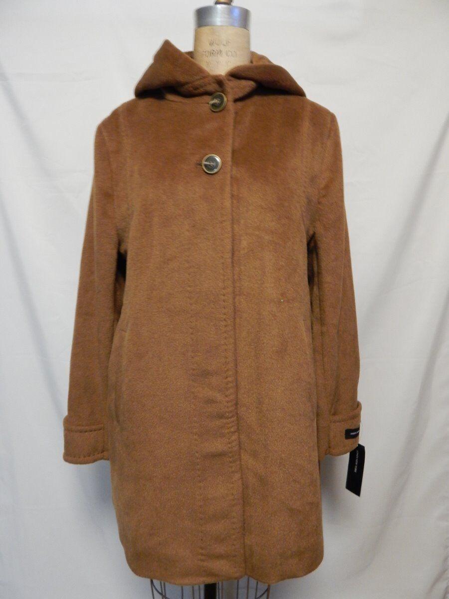 Jones New York Angora Blend Hooded Coat 14 Nutmeg  NWT