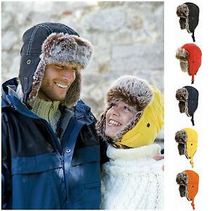 Earflap-Trapper-Bomber-Aviator-Russian-Trooper-Fur-Winter-Ski-Hat-Mens-Womens